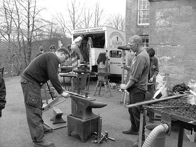 Blacksmithing equipment was borrowed from across the country for the 60 blacksmiths to use during the weekend event.
